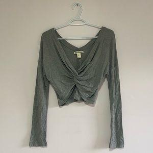 Grey Long Sleeve Crop